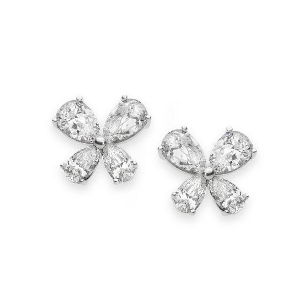 orecchini comete farfalle argento zirconi