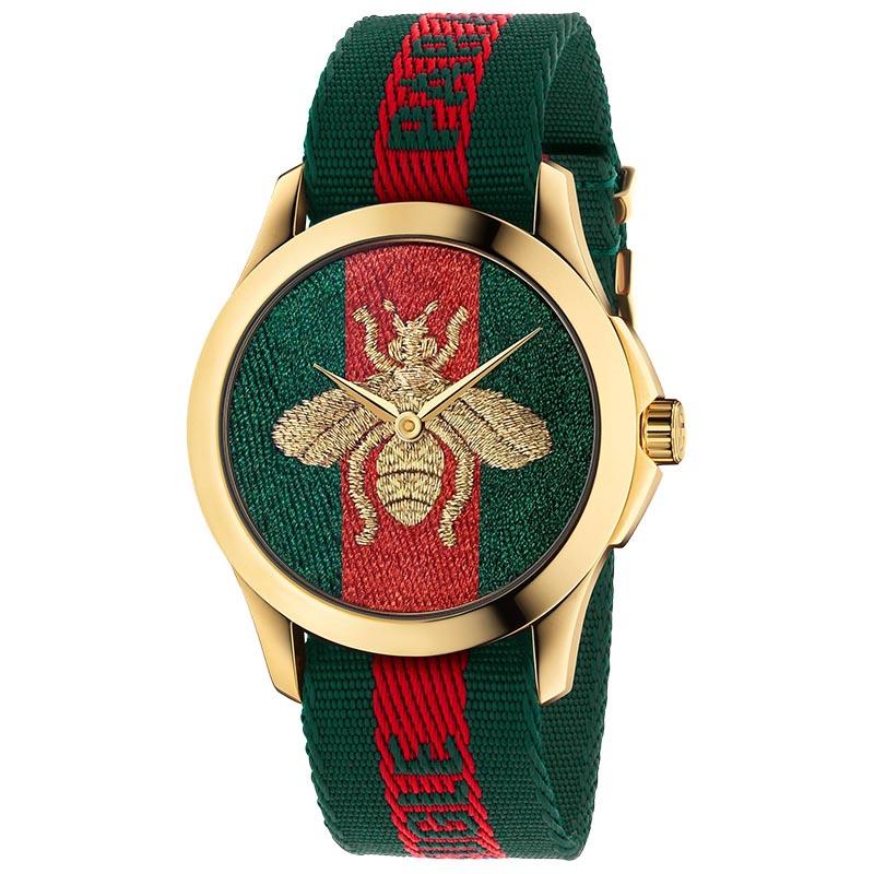 Orologio Gucci Le Marchè des Merveilles ape oro web verde,rosso,verde