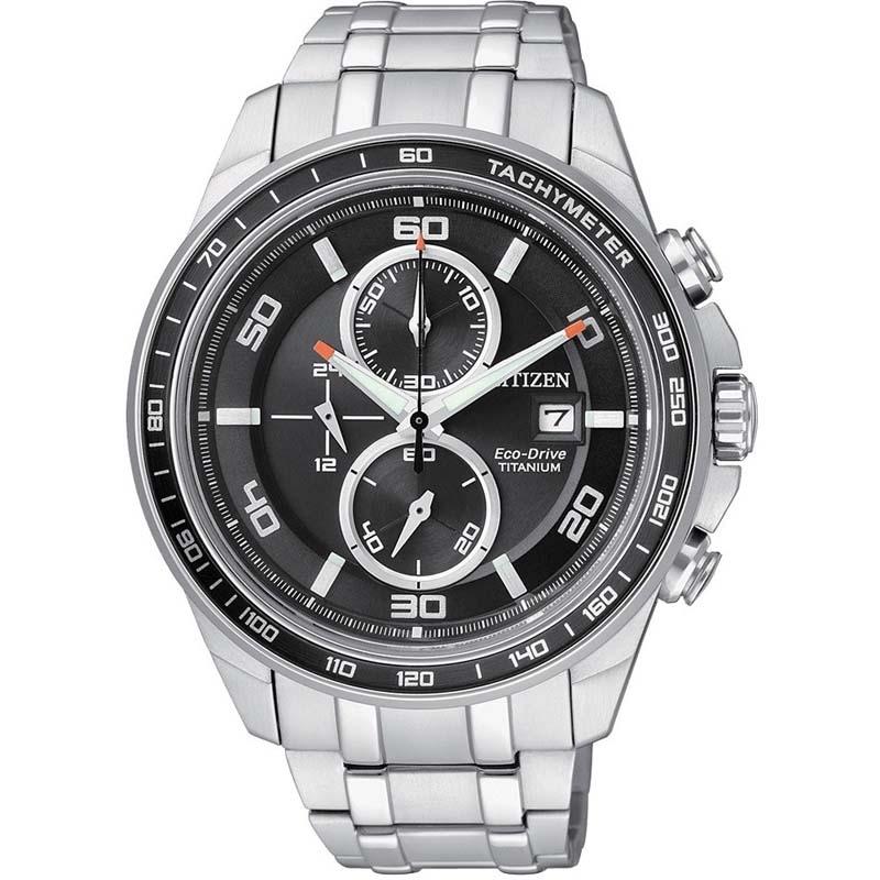 nuovo concetto 4733a 3b6c1 Orologio Citizen Ecodrive Cronografo in super titanio con quadrante nero