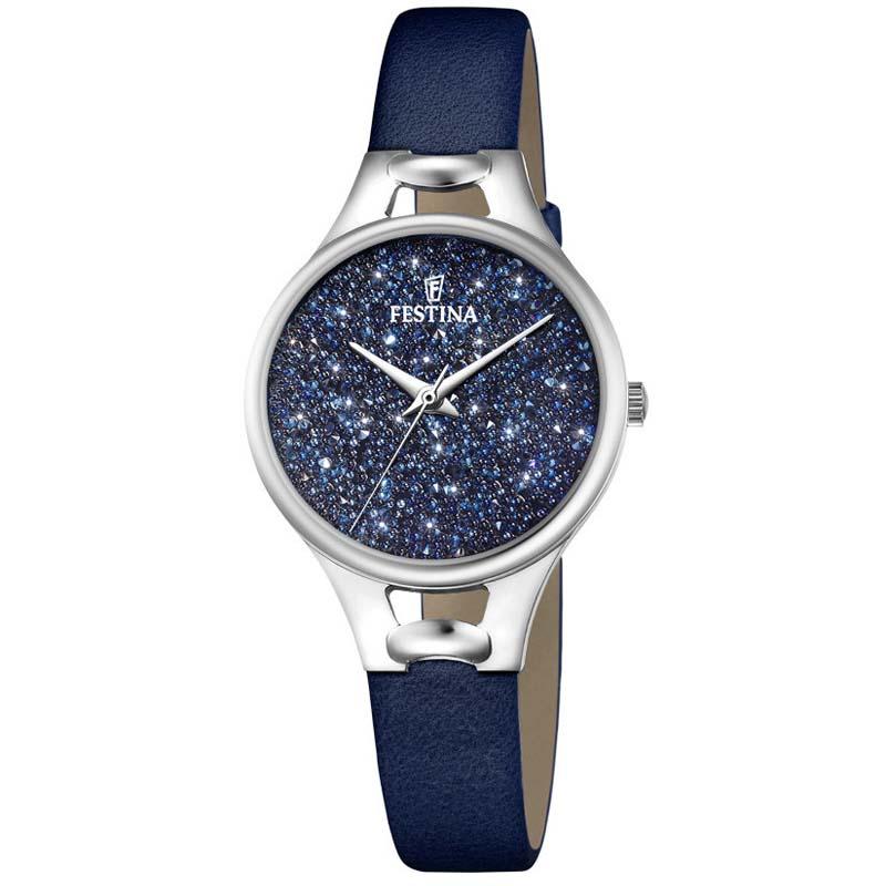 orologio donna festina f20334/2 pelle e swarovski blu