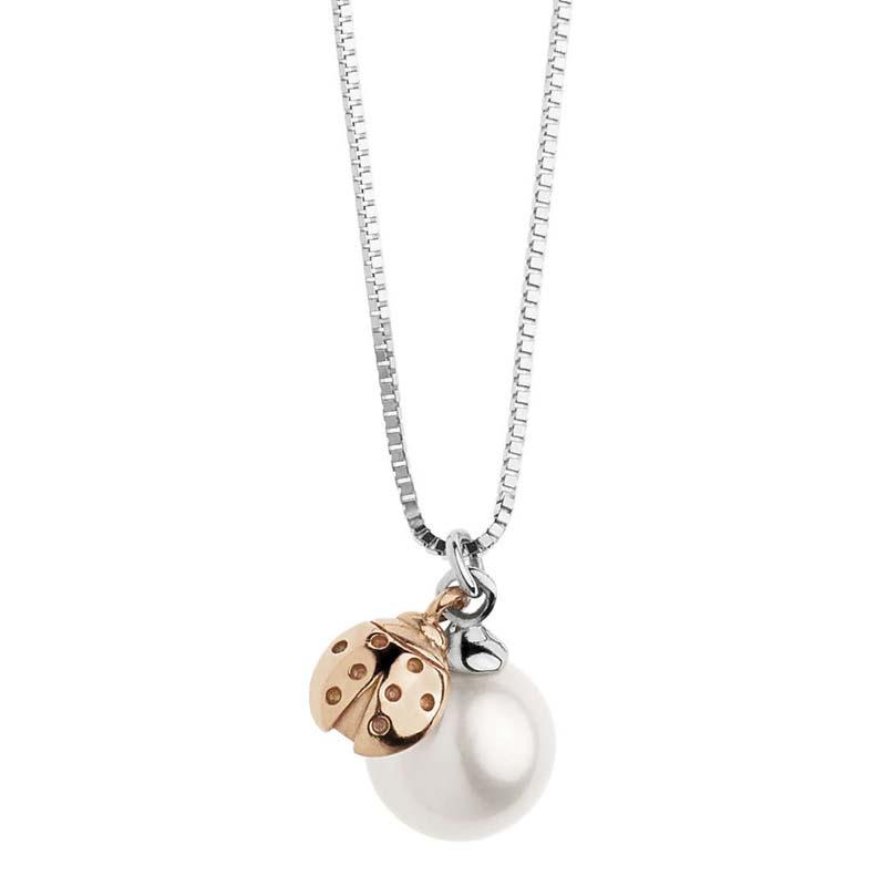 miglior sito web 753ff f7f85 Collana in oro bianco e rosa con perla e coccinella pendente Comete Gioielli