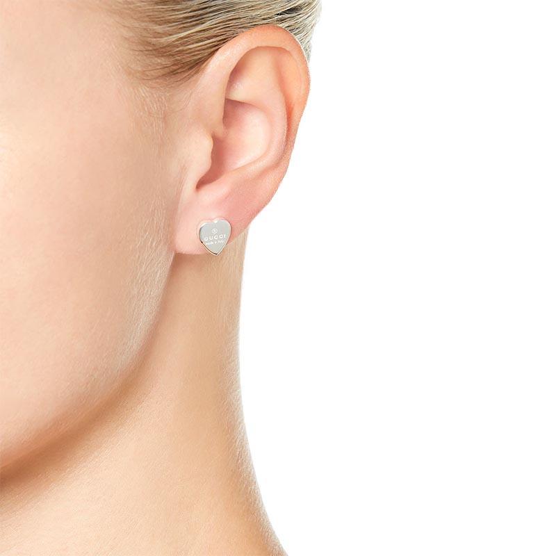 allacciarsi dentro negozio del Regno Unito informazioni per Orecchini Gucci Trademark a cuore in Argento | Gioielleria Baravelli