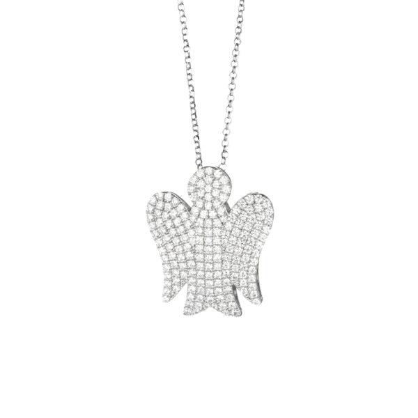 collana con ciondolo angelo grande in argento e zirconi