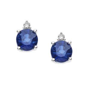 orecchini comete zaffiro blu tondo diamante