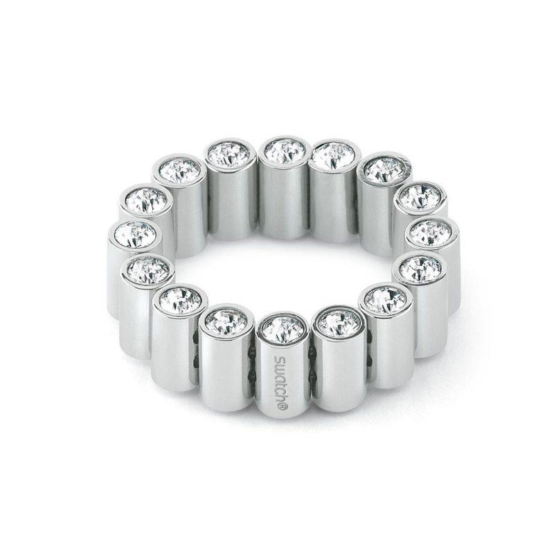 anello fascia acciaio swarovski bianchi