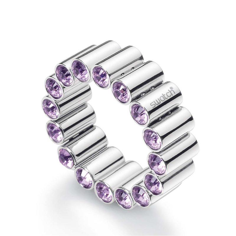 anello fascia acciaio cristalli viola