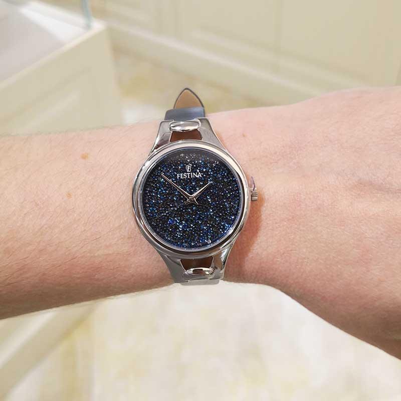 più foto d7394 43614 Orologio Donna Festina con quadrante di Swarovski e cinturino in pelle Blu