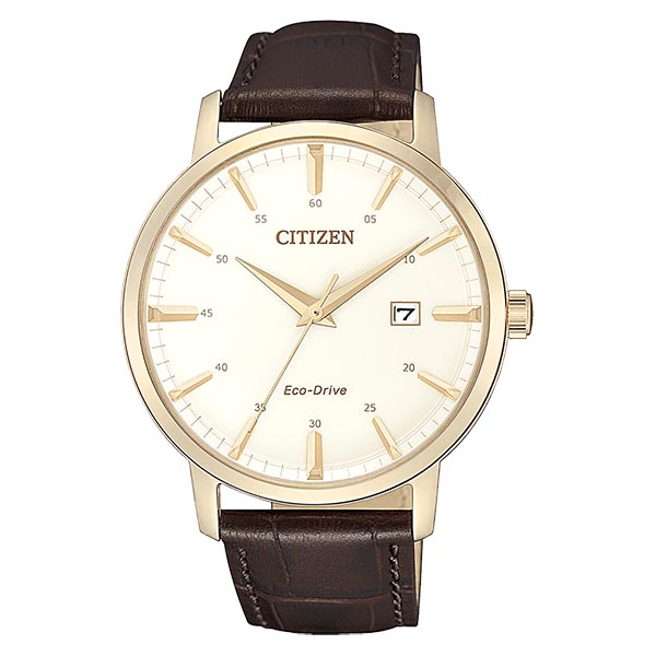 orologio uomo citizen ecodrive acciaio rosa quadrante bianco data cinturino pelle