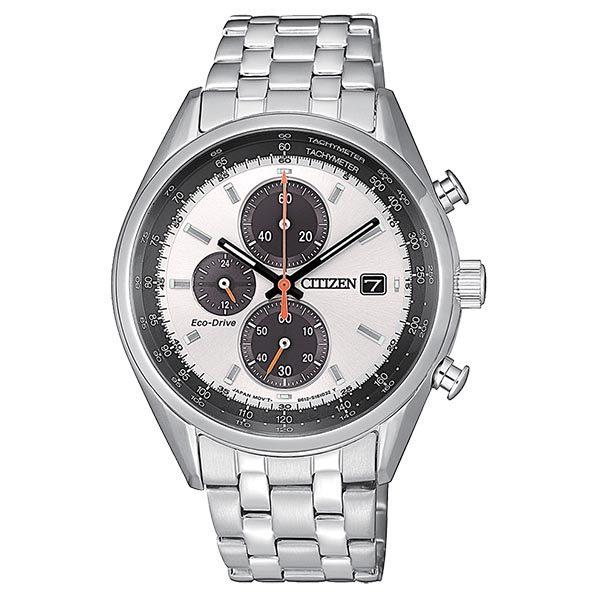 orologio citizen chrono ecodrive bracciale acciaio quadrante bianco dettagli arancione