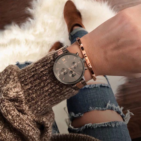 orologio minimal MVMT titanio e oro rosa
