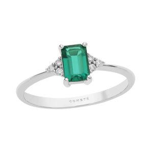 anello oro bianco diamanti e smeraldo verde