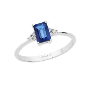 anello oro bianco diamanti e zaffiro blu