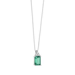 collana con smeraldo verde e diamanti in oro bianco