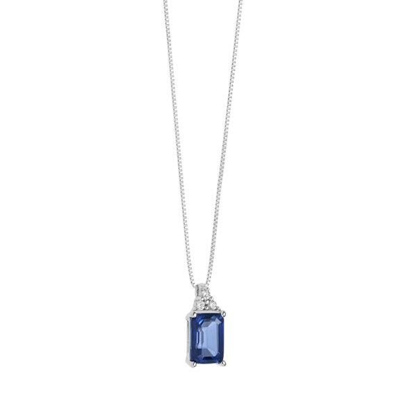 collana con zaffiro blu e diamanti in oro bianco