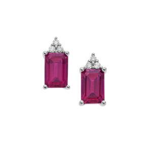 orecchini in oro bianco con diamanti e rubini rossi