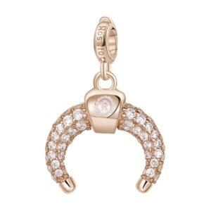 ciondolo charm luna crescente ferragni argento rosato e zirconi