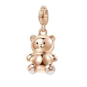 ciondolo charm orsacchiotto in argento rosato