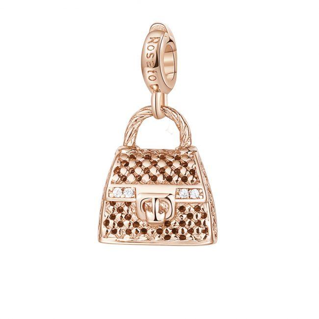 ciondolo charm borsetta a mano in argento rosato