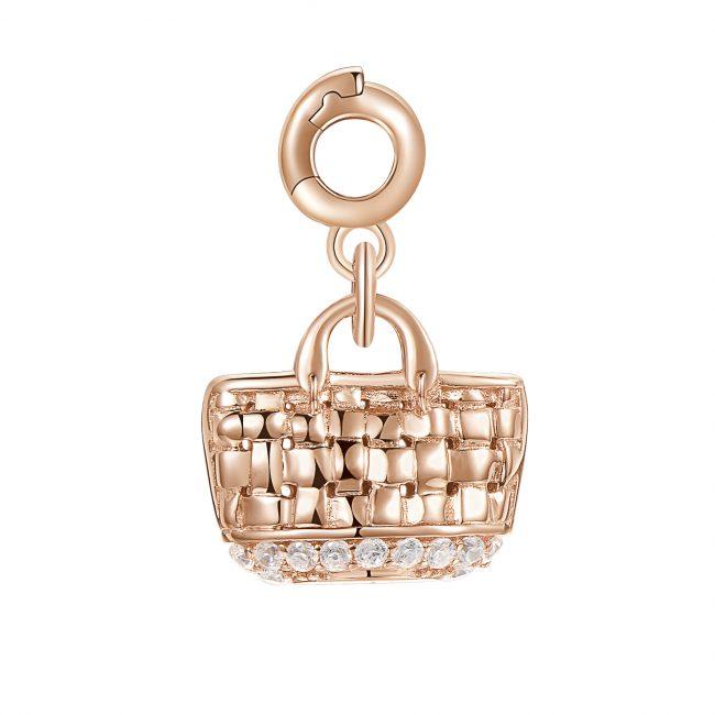 ciondolo charm borsa mare paglia argento rosato