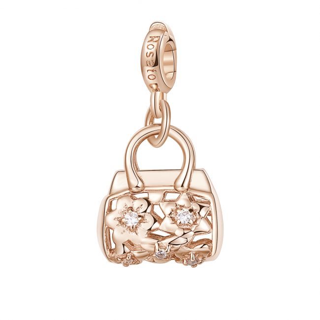 ciondolo charm borsa hobo argento rosato