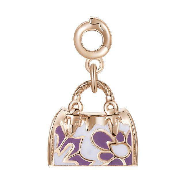 ciondolo charm bauletto argento rosato colorato