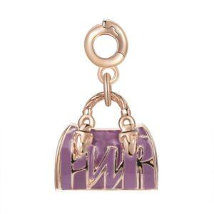 ciondolo charm borsa bauletto in argento oro rosa e smalti
