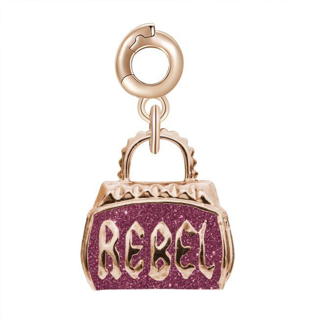 ciondolo charm borsa borsetta rebel argento rosato