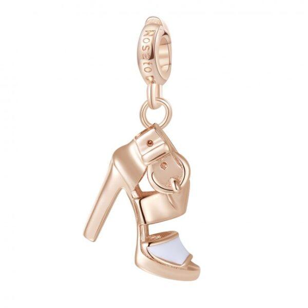 ciondolo charm scarpa sandalo tacco alto in argento rosato