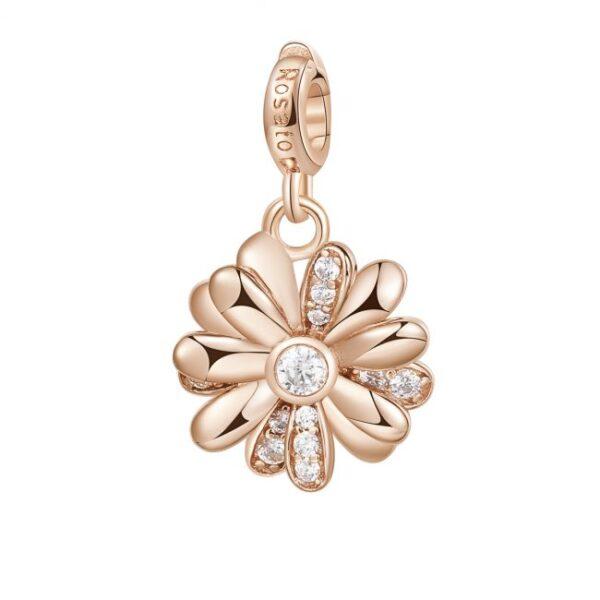 ciondolo charm fiore margherita argento rosato