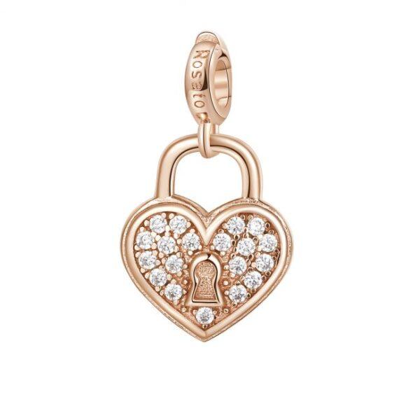 ciondolo charm lucchetto cuore argento rosato con cristalli