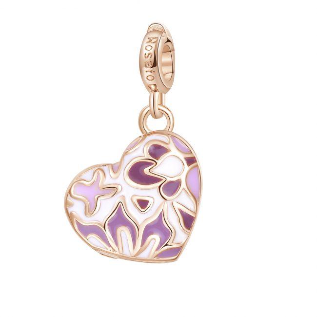 ciondolo charm cuore apribile argento rosato