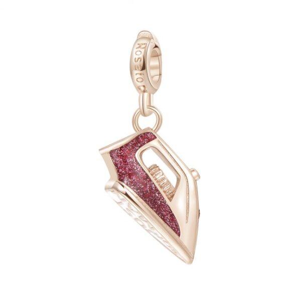 ciondolo charm ferro da stiro argento rosato