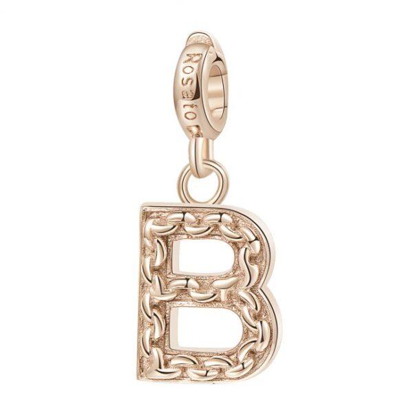 ciondolo argento oro rosa iniziale lettera b