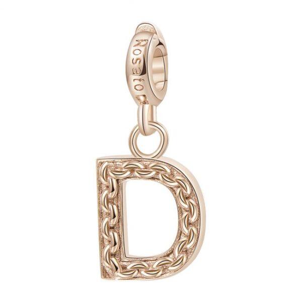 ciondolo argento oro rosa iniziale lettera d