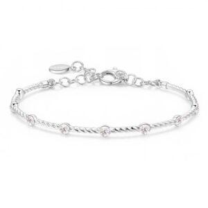 bracciale rigido in argento con cristalli bianchi per charms
