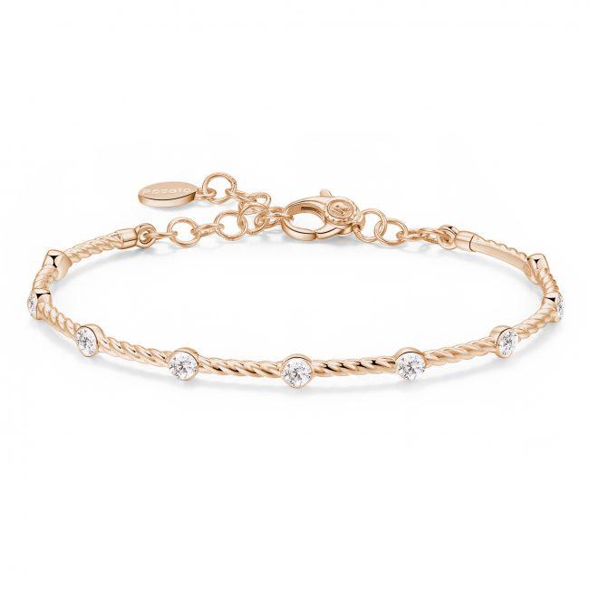 bracciale rigido in argento oro rosa con cristalli bianchi per charms