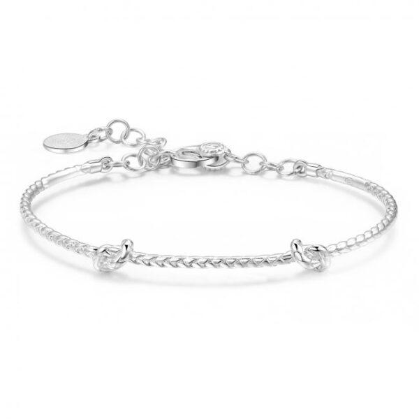 bracciale rigido per charms in argento 2 nodi