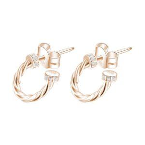 orecchini anelle in argento placcato oro rosa