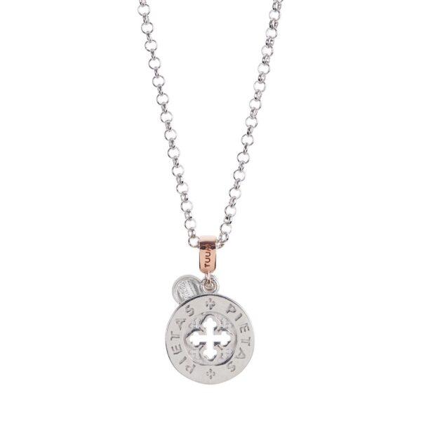 collana dono tuum argento e oro rosa pietas