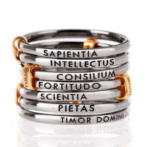 anello fascia 7 fili argento nero e oro