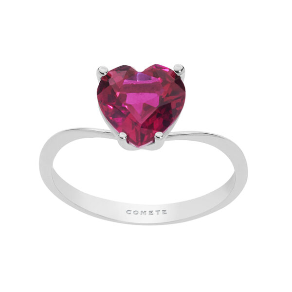 anello cuore rosso rubino oro bianco