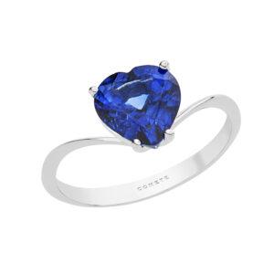 anello cuore blu zaffiro oro bianco