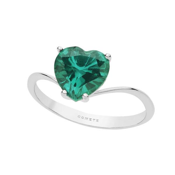 comprare on line 7eddf 0024c Anello Cuore Comete in oro Bianco con Pietra Verde Smeraldo