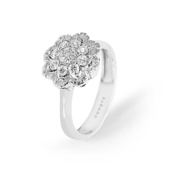 anello oro bianco e diamanti a fiore comete