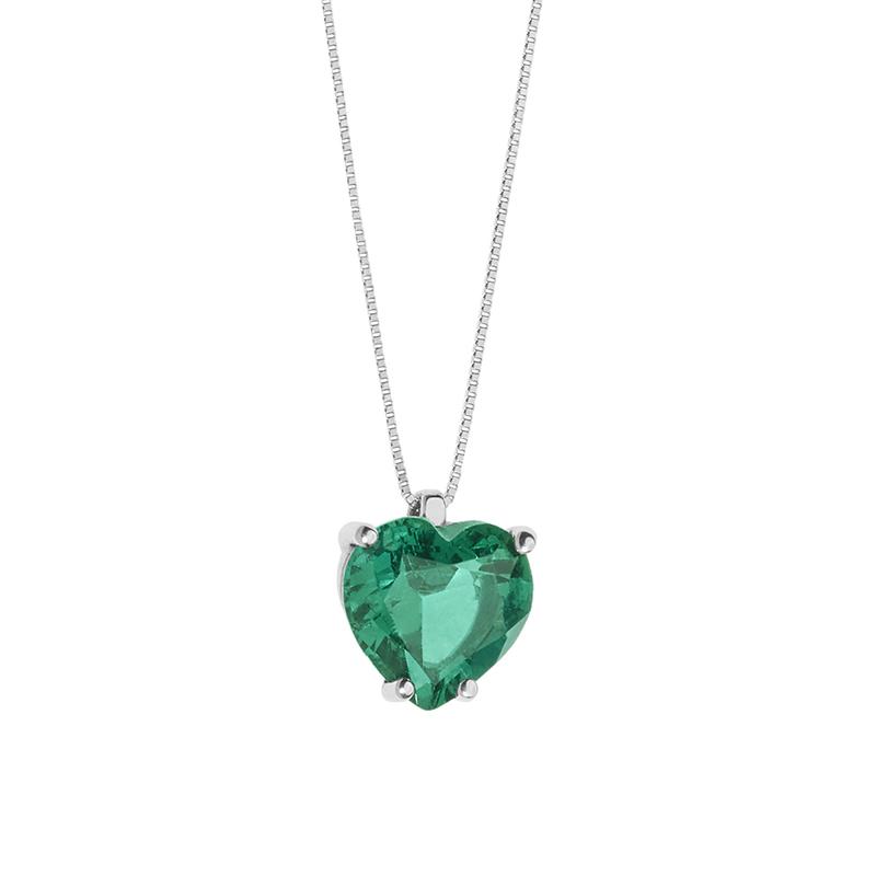 comprare popolare 89457 f2249 Collana Cuore Comete in Oro Bianco e pietra Verde Smeraldo