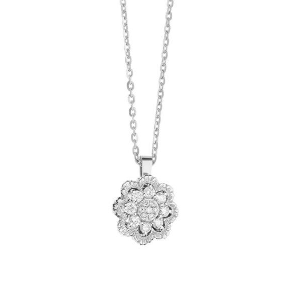 ciondolo fiore comete oro bianco e diamanti