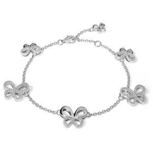bracciale farfalle comete wedding argento