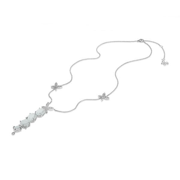 collana con pendente pietra di luna e farfalle argento