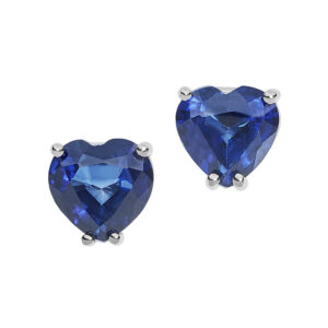 orecchini a cuore in oro bianco e zaffiri blu