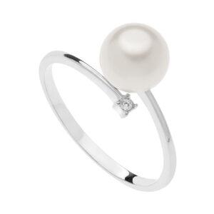 anello comete gioielli oro bianco perla bianca freshwater diamante